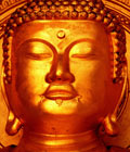 Gold-coloured statue of the Buddha, a serene expression on his face