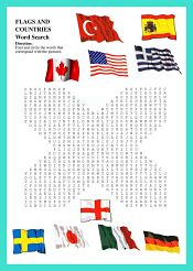 Country Flags WordSearch For Kids